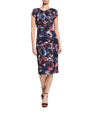 aaa61bb1 Theia Floral-Print Cap-Sleeve Ruched Sheath Dress