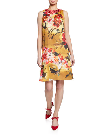 Theia Floral-Print Beaded-Neck Sleeveless A-Line Dress