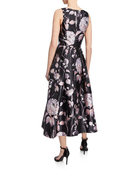 Theia Floral-Print High-Neck Sleeveless Midi Dress w/ Pleated Skirt