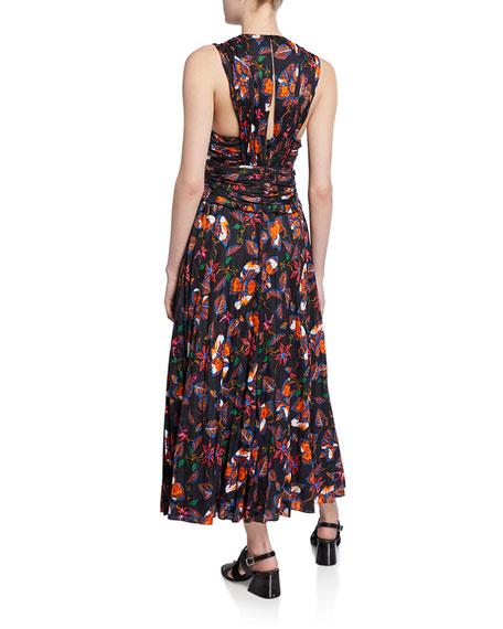 Derek Lam 10 Crosby Ruched Pleated Cotton-Silk Maxi Dress