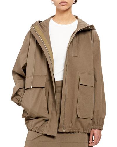 Utility Zip-Front Cotton Anorak Jacket