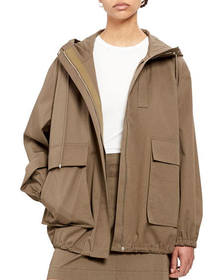 Theory Utility Zip-Front Cotton Anorak Jacket