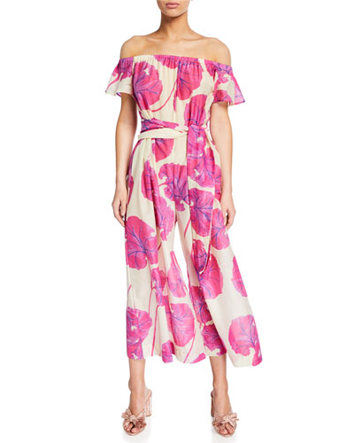 Helena Printed Off-Shoulder Jumpsuit