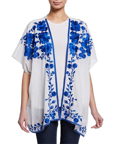 Plus Size Noelle Floral Embroidered Half-Sleeve Jacket