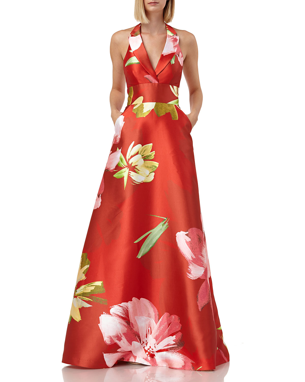 Wedding Gown Stores Nyc: Kay Unger New York Floral-Printed Mikado Halter Gown With