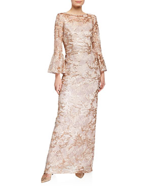 c6b83ae145 Rickie Freeman for Teri Jon Sequin Lace Trumpet-Sleeve Gown
