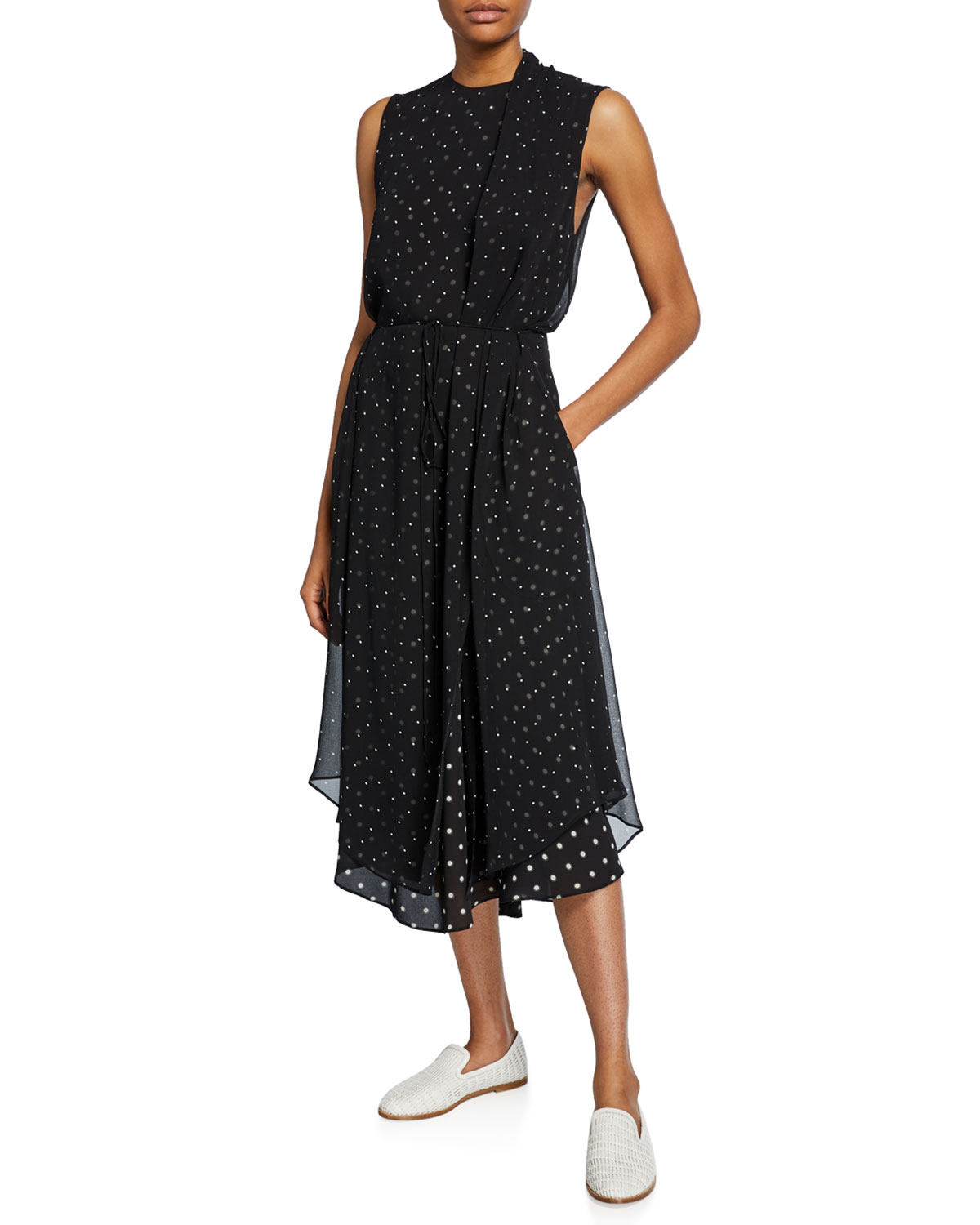 Mixed Media Dot Print Sleeveless Midi Dress by Vince