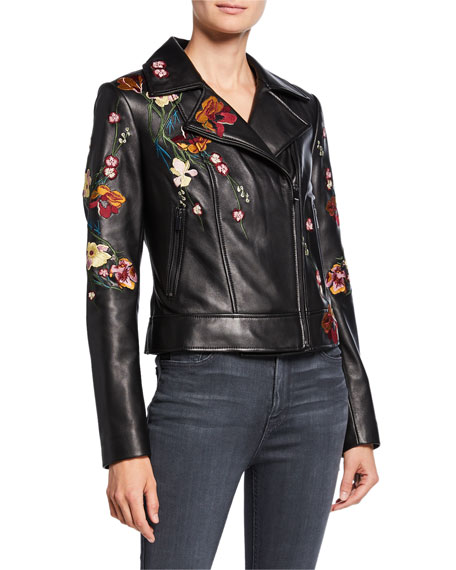 Image 3 of 4: Floral Embroidered Leather Moto Jacket