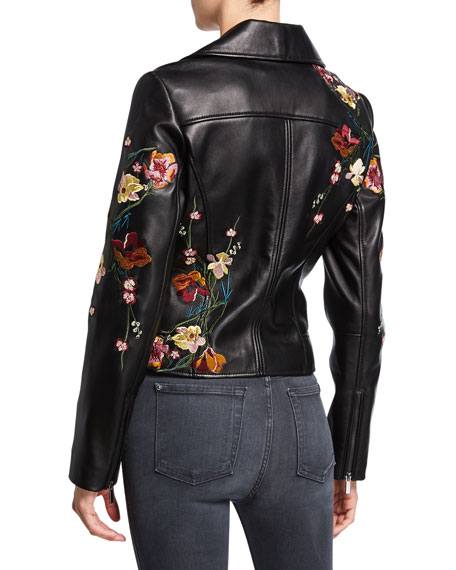 Neiman Marcus Leather Collection Floral Embroidered Leather Moto Jacket