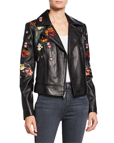 Image 1 of 4: Floral Embroidered Leather Moto Jacket