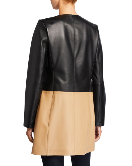 Neiman Marcus Leather Collection Plus Size Zip-Front Colorblock Topper Jacket