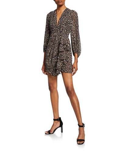 Buell Animal-Print Plunged Blouson-Sleeve Draped Mini Dress