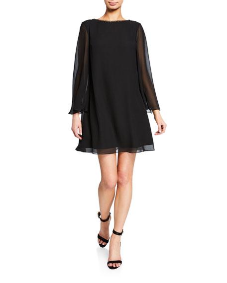 SHO Long-Sleeve Backless Chiffon Mini Cocktail Dress