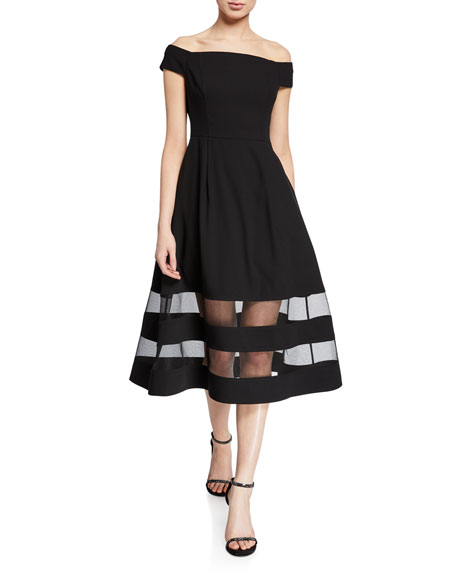 Aidan by Aidan Mattox Shadow Stripe Off-the-Shoulder Short-Sleeve Midi Crepe Dress