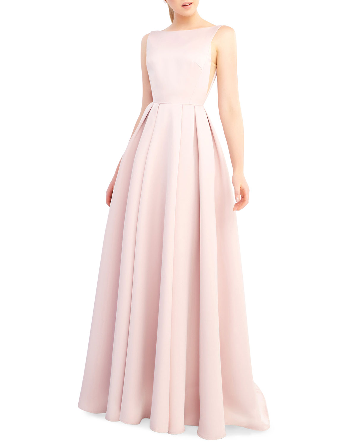 Ieena for Mac Duggal Bateau-Neck Sleeveless Open-Back Pleated A-Line Gown