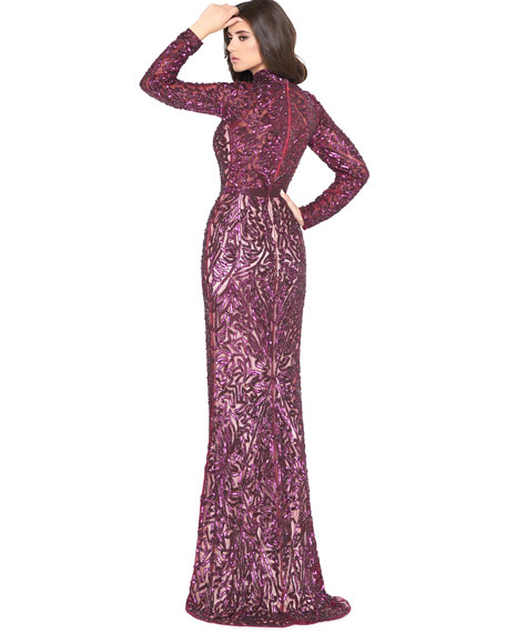 Image 2 of 2: Mac Duggal Sequin High-Neck Long-Sleeve Column Gown