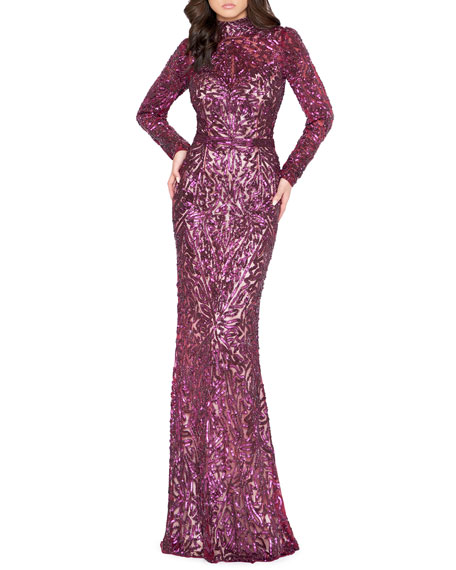 Image 1 of 2: Mac Duggal Sequin High-Neck Long-Sleeve Column Gown