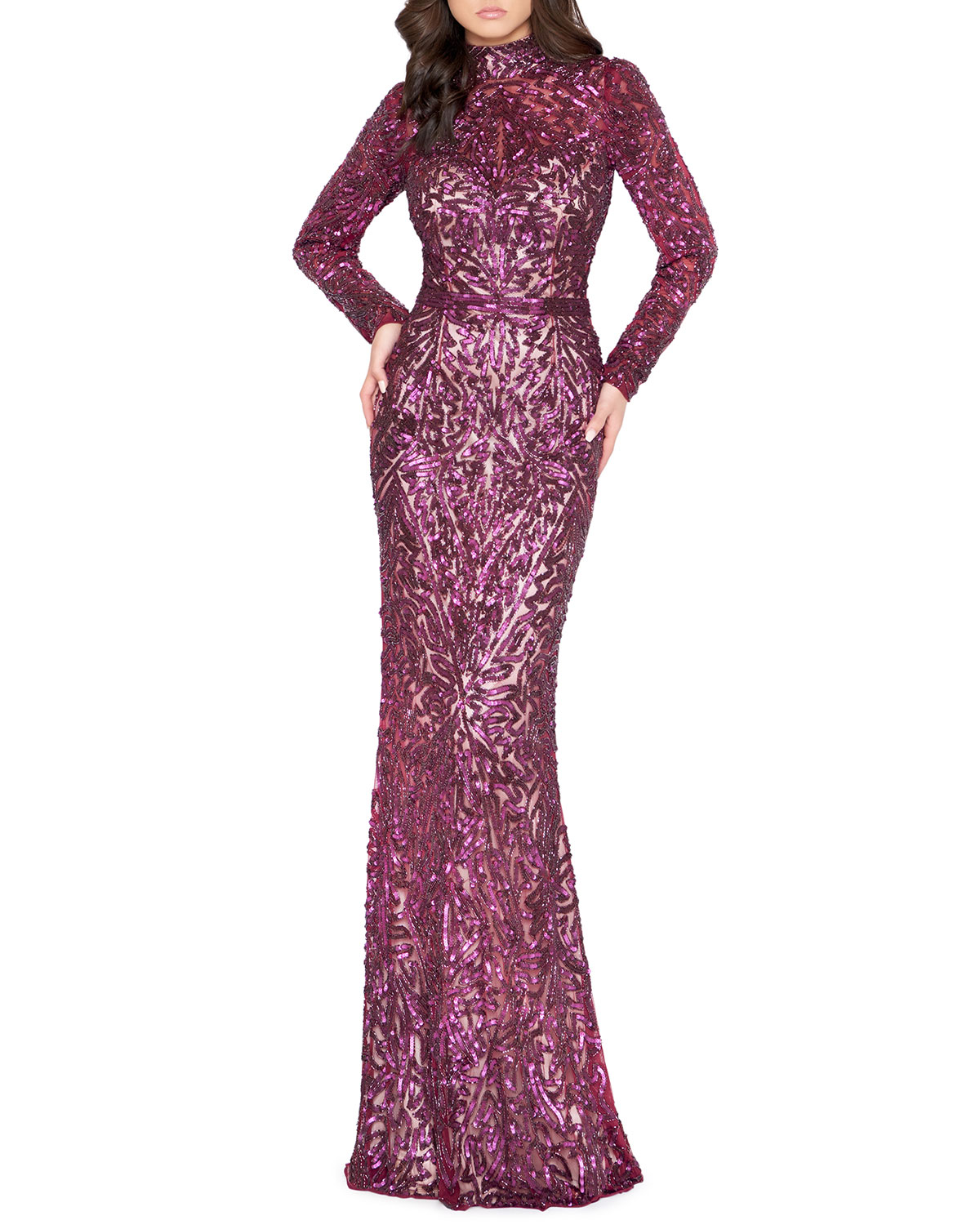 Mac Duggal Sequin High-Neck Long-Sleeve Column Gown