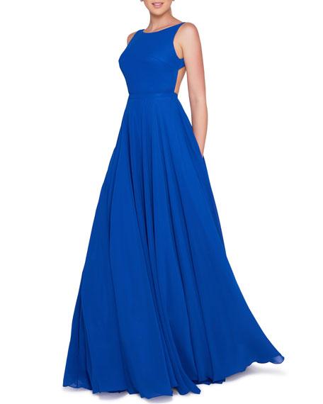 Ieena for Mac Duggal High-Neck Sleeveless Open-Back Chiffon Gown with Train