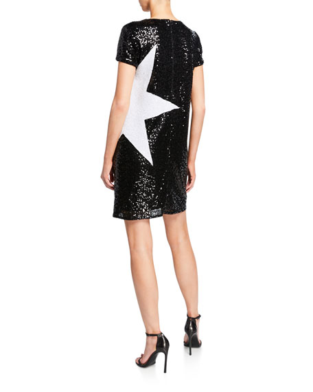 Aidan by Aidan Mattox Sequin Short-Sleeve Mini Shift Dress w/ Star Applique