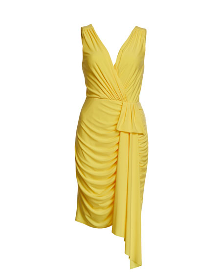 Aidan by Aidan Mattox V-Neck Sleeveless Draped Jersey Cocktail Dress
