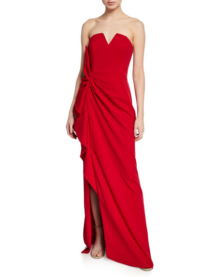 Aidan Mattox Strapless Sweetheart Shirred Crepe Gown with Slit