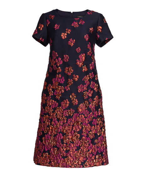 Aidan Mattox Floral Jacquard Cap-Sleeve Cocktail Dress