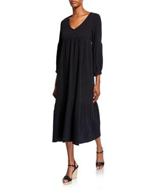 2597035765c Rachel Pally Cecelia V-Neck 3/4-Sleeve Tiered Cotton Gauze Dress