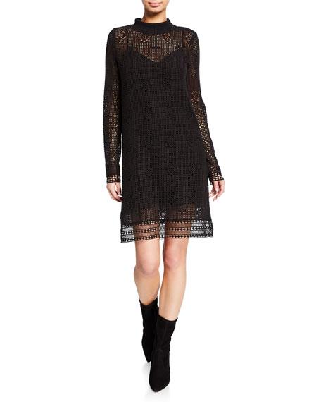 See by Chloe Mock-Neck Lace Long-Sleeve Dress