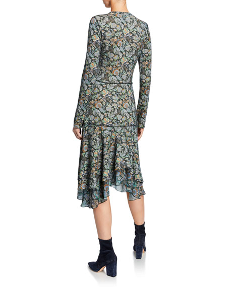 See by Chloe Long-Sleeve Tiered Printed Flounce Dress