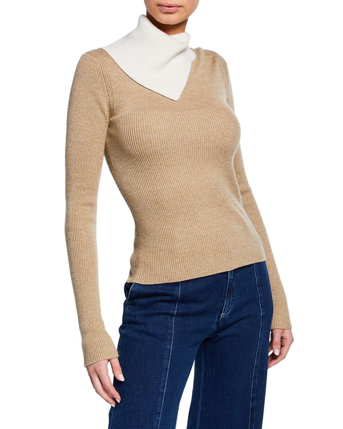 Two Tone Draped Turtleneck Sweater by See By Chloe
