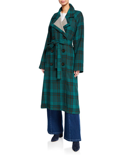 Double-Breasted Plaid Trench Coat