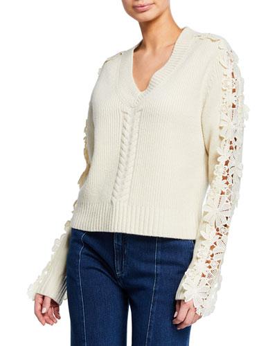 Lace-Trim V-Neck Pullover Sweater