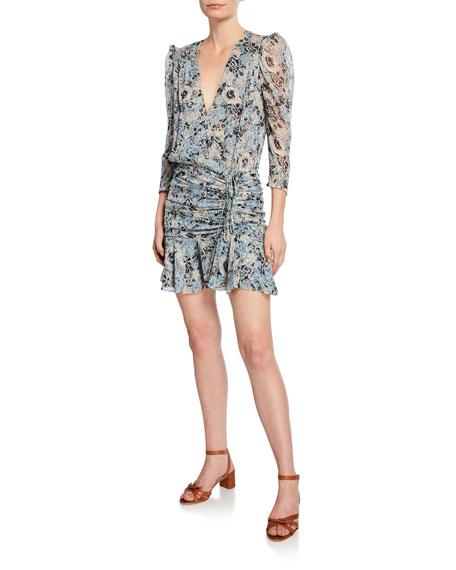 Veronica Beard Maggie Floral-Print 3/4-Sleeve Shirred Mini Dress