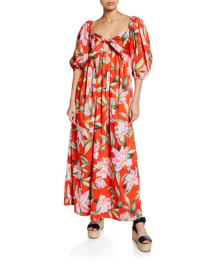 65315c69b8 Mara Hoffman Violet Floral-Print Tie-Front Organic Cotton Maxi Dress