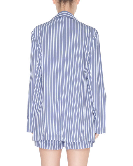 Tibi Striped Viscose Twill Oversized Blazer