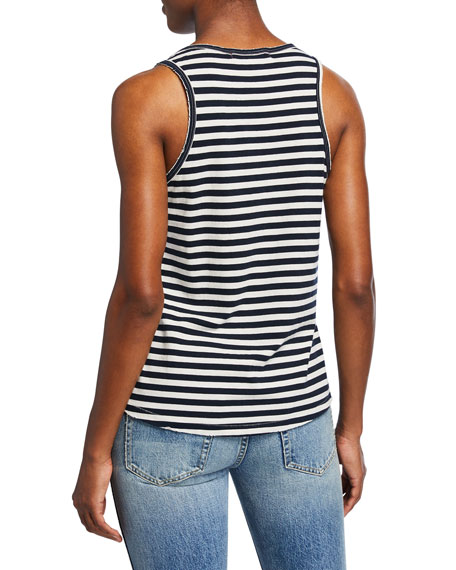 AMO Denim Sunday Striped V-Neck Cotton Tank