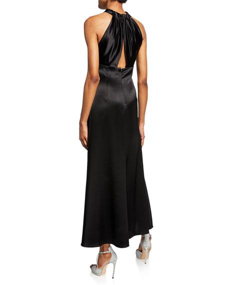 Jill Jill Stuart Keyhole Midi Satin Halter Dress with Buttons