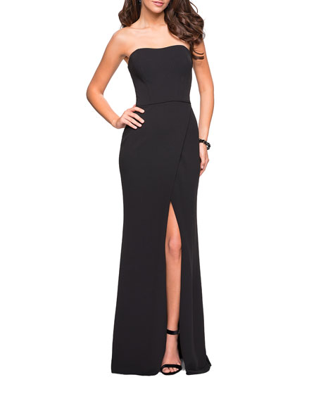 La Femme Strapless Strappy-Back Jersey Gown with Slit