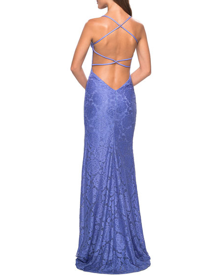 La Femme V-Neck Strappy Open-Back Stretch-Lace Gown with Slit