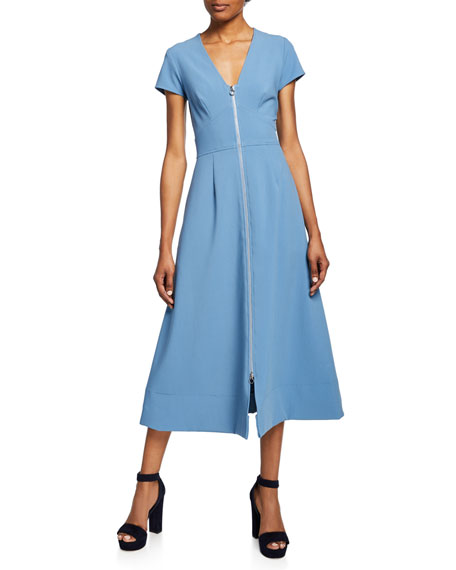 Jill Jill Stuart Zip-Front Short-Sleeve A-Line Midi Dress