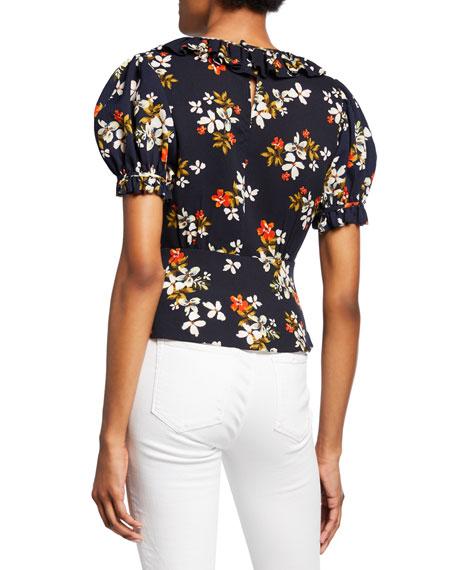 Jill Jill Stuart Floral-Print High-Neck Short-Sleeve Ruffle Peplum Top