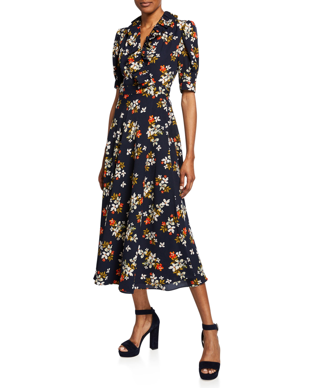 Floral Print Elbow Sleeve Midi Wrap Dress by Jill Jill Stuart