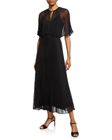 Jill Jill Stuart Short-Sleeve Pleated Midi Dress
