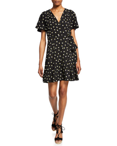 Floral Embroidered Short-Sleeve Mini Wrap Dress