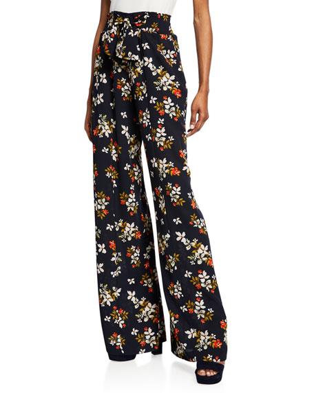 Jill Jill Stuart Floral-Print Wide-Leg Pants with Ties