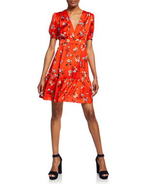 f906c94d Jill Jill Stuart Floral-Print V-Neck Short-Sleeve Mini Dress