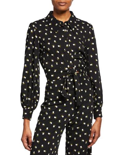 Floral Button-Front Long-Sleeve Tie-Hem Crop Top