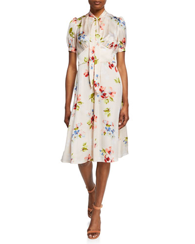Blush Floral-Print Tie-Neck Short-Sleeve Dress