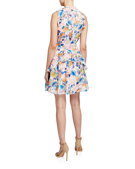 Saloni Tilly Floral-Print Ruffle Dress